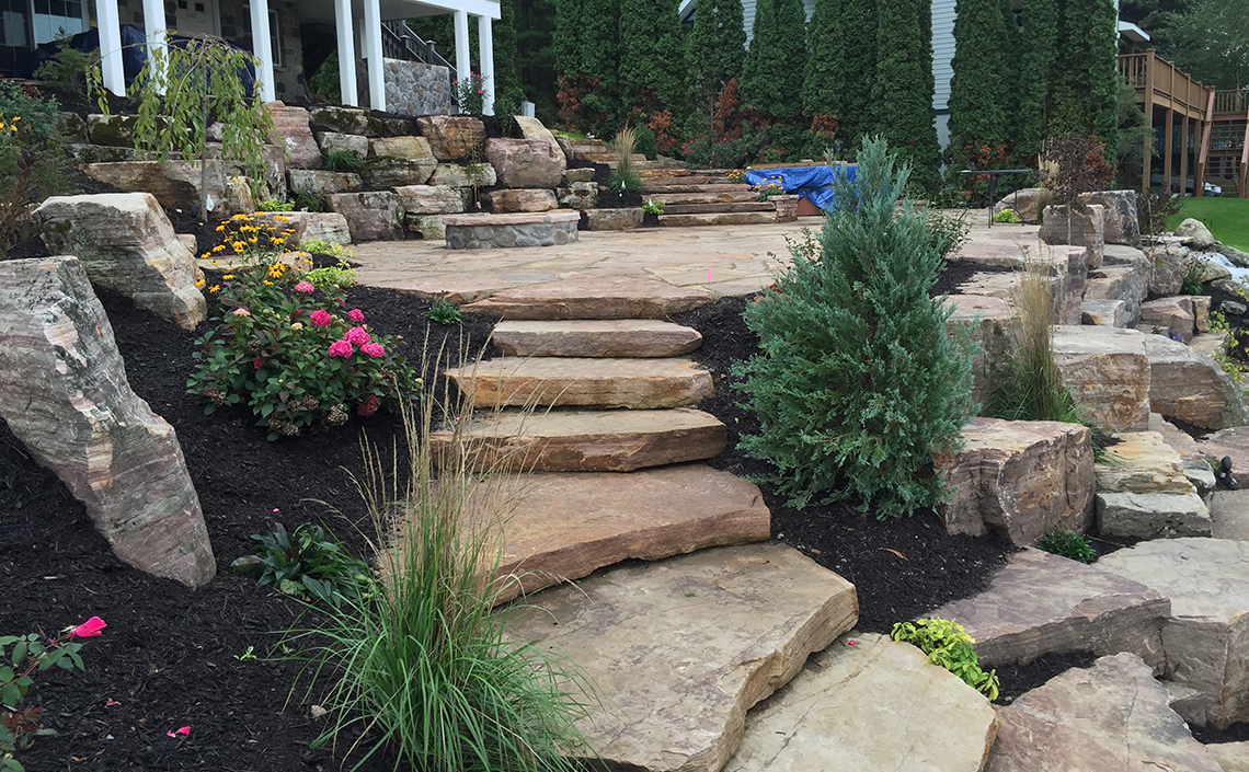 Stone Stairs Through Landscaping