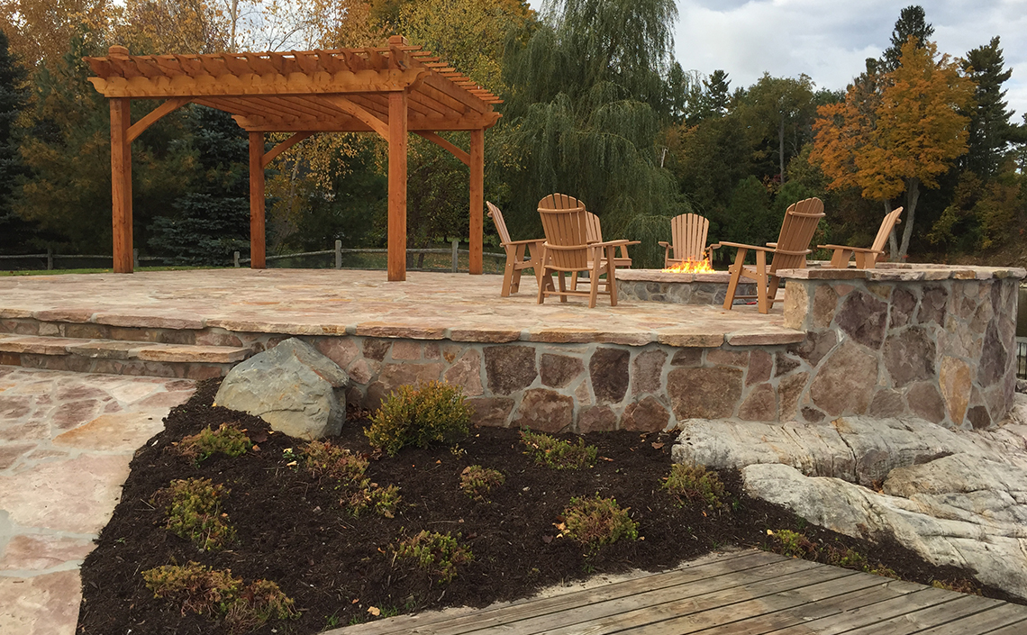 Stone Patio with Pergola